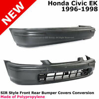 Honda Civic 96-98 Ek Sir Style Bumper Cover Full Kit Black Conversion + Molding