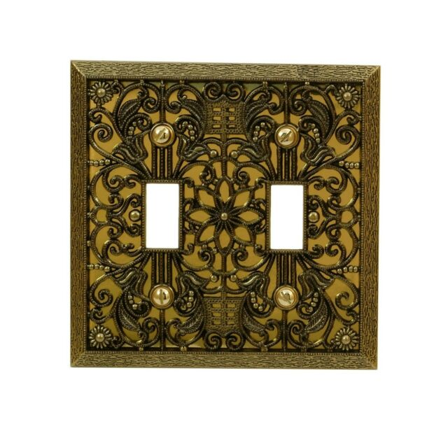 Amerelle 65TAB Filigree Cast Metal Toggle Wallplate Antique Brass Amertac