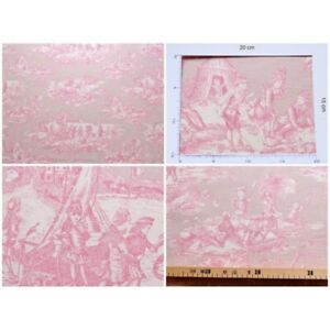 Coupon-fabric-toile-de-jouy-water-story-pink-background
