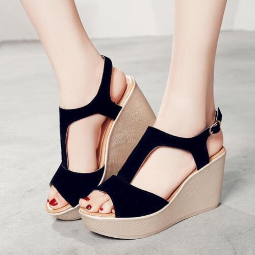 New Womens High Wedge Heel Platform Sandals Ladies Ankle Strap Shoes JA