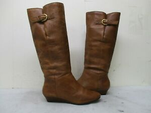 be3862cfcc0 Steven By Steve Madden Intyce Brown Leather Wedge Heel Fashion Boots ...