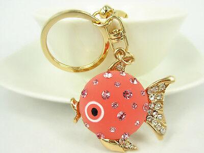KC083 N Fish Keyring Cute Rhinestone Crystal Charm Pendant Key Bag Chain Gift