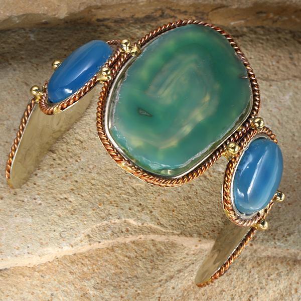 New Tara Mesa Green Agate & Chalcedony Slice Cuff Bracelet