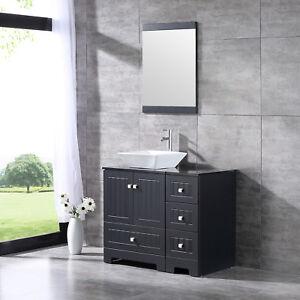 36inch Black Bathroom Vanity Cabinet Top Single Vessel Sink