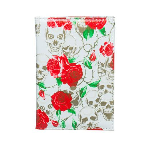 Luxe Squelette Crâne Rose Fleurs PU Cuir Passport Cover Voyage ID portefeuille