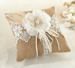Image Is Loading Burlap Ring Pillow Wedding Bearer Lace Boy