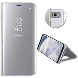 Housse-Etui-coque-a-clapet-miroir-translucide-argent-pour-Samsung-Galaxy-Note-9