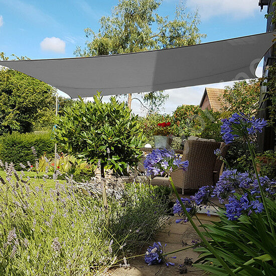 5x4m Sun Shade Sail Garden Canopy Awning 98 Uv Block Anthracite Ebay