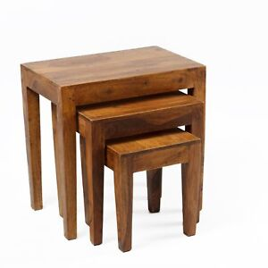 Beistelltisch 3er Tisch Hocker Set Palisander Massiv Holz Sheesham
