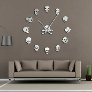 Frameless-Wall-Clock-Watch-Needle-Quartz-Skull-Patterned-Home-Decoration-DIY-New