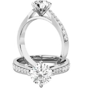 0.73 Ct Round Cut Moissanite Engagement Superb Rings 18K Solid White Gold Size 5