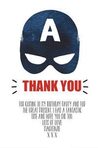 Personalised Captain America Superhero Birthday Thank You Cards