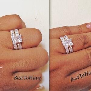 925 Sterling Silver Ladies 2 Piece Princess Wedding Engagement