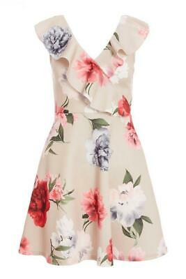 B140 NEW RRP £29.99 Quiz Petite Stone Pink And Grey Floral Skater Dress