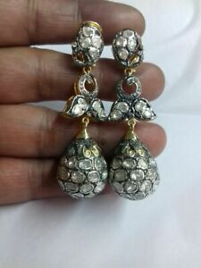 Natural Rose Cut Diamond & Polki 925 Sterling Silver Victorian Earrings Jewelry