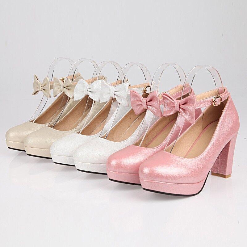 Sweet Women High Block Heel Bowknot Round Toe Platform Ankle Strap shoes Buckle