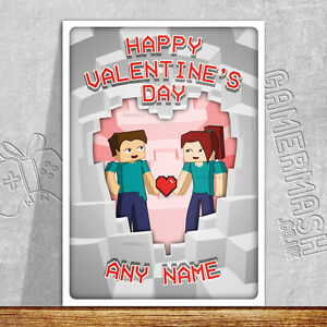 Personalised Valentine S Day Card Minecraft Themed Love Romantic