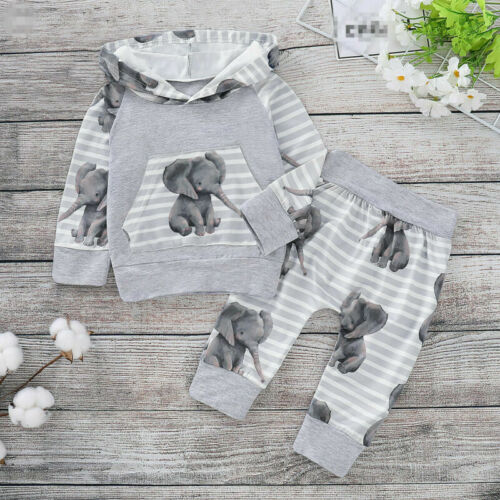 Baby Boy Kids Elephant Printed Newborn Hoodies Top+Pants Outfits Set 0-18 Months