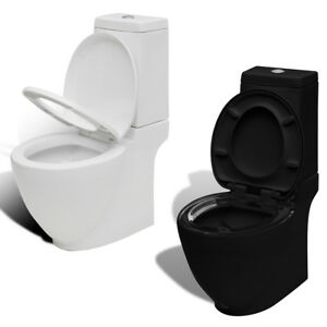 New-Modern-Bathroom-Square-Toilet-Ceramic-Soft-Close-Black-White-Selectable