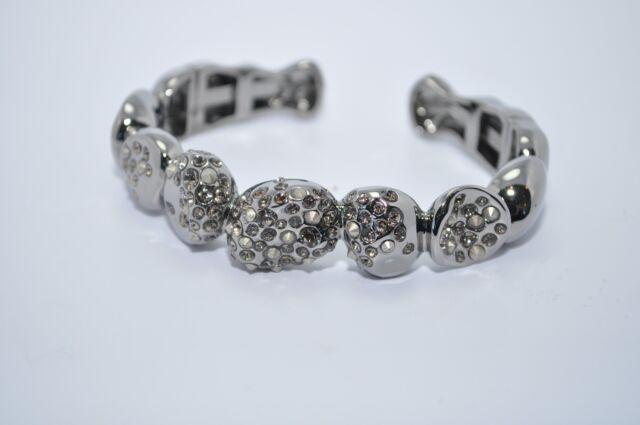 ALEXIS BITTAR Gunmetal Silver Encrusted Pave Crystal Bangle Bracelet