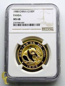 1988 Chinese Panda 1 oz. .999 Gold Graded by NGC as MS-68! China Bullion
