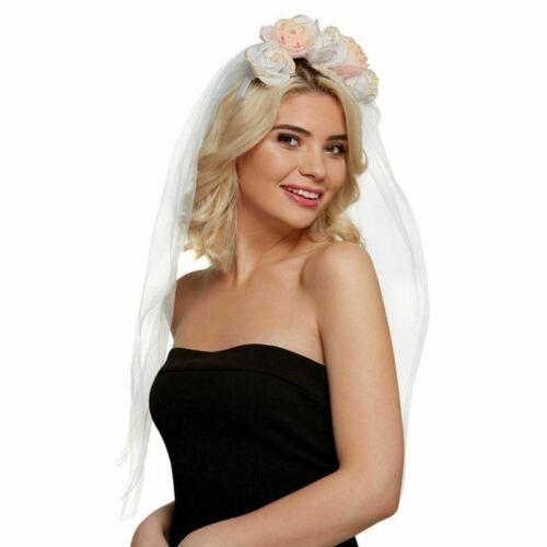 Classy Bride Be Glitter Floral Headband Veil Hen Party Girls Night Roses Flower