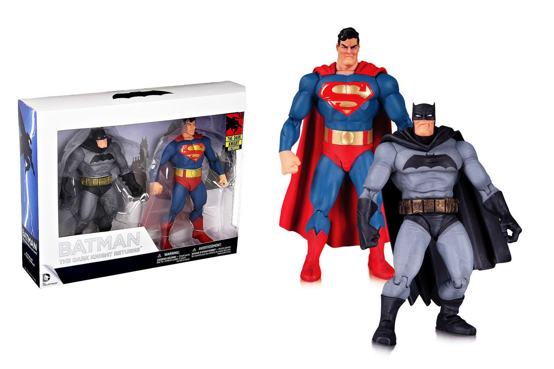 BATMAN + SUPERMAN action figure da collezione 30 anni THE DARK KNIGHT RETURNS