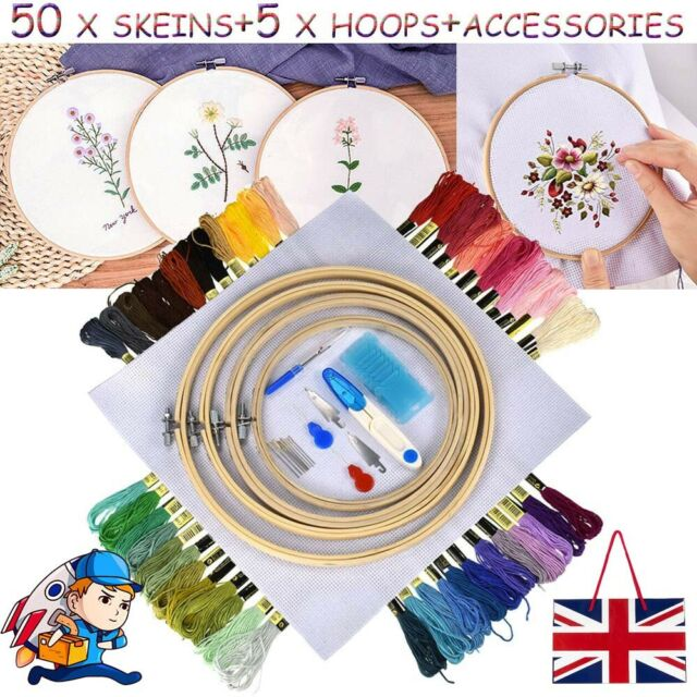105 Cross Stitch Embroidery Starter Kit Craft DIY Tools Colorful Fabric-Set