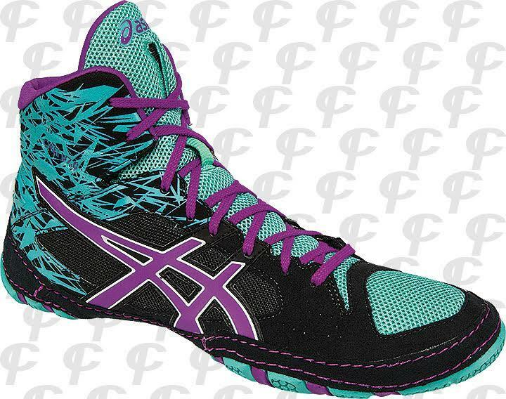 ASICS Cael V7.0 Mens Wrestling Shoes J605Y-9036 Black/Orchid/Turquoise NEW!