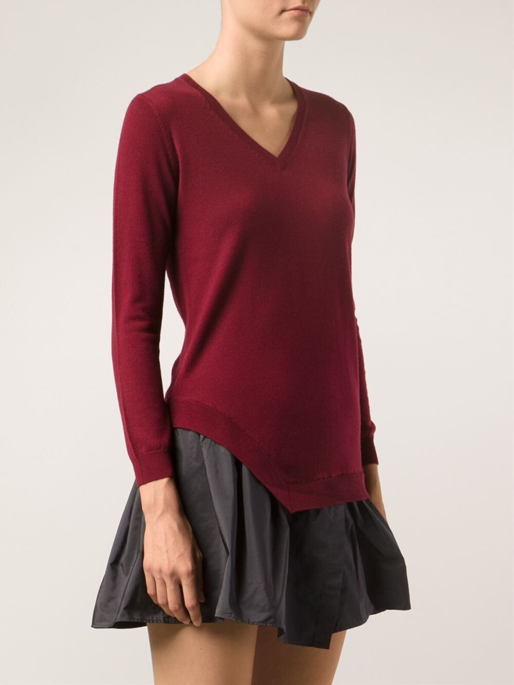 CARVEN burgundy red fine knit contrast flared dress M