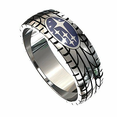 Subaru ring, sterling silver 925, logo is blue enamel.