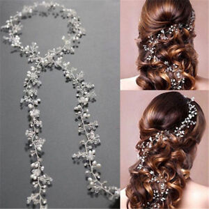 1-Piece-Pearls-Wedding-Hair-Vine-Crystal-Bridal-Accessories-Diamante-Headware