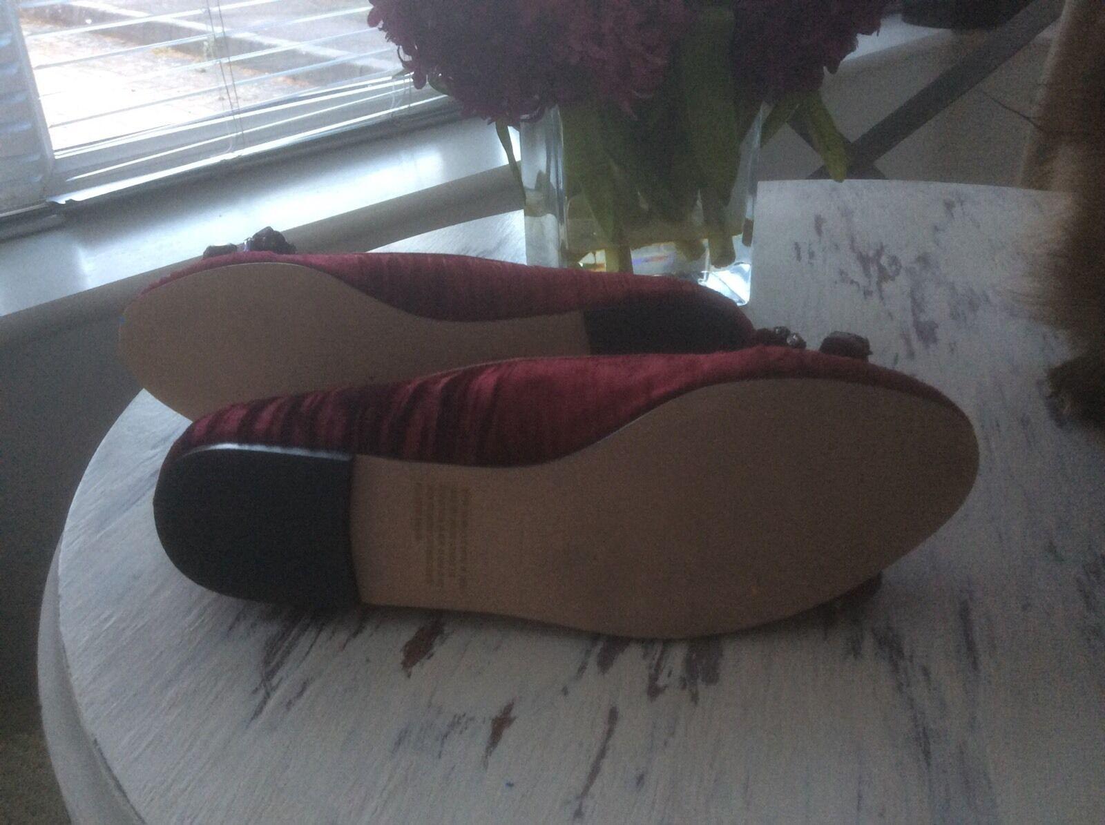 KG Kurt Geiger ROT Velvet  Flat (7) Bling Court Schuhe 40 (7) Flat 0494ae