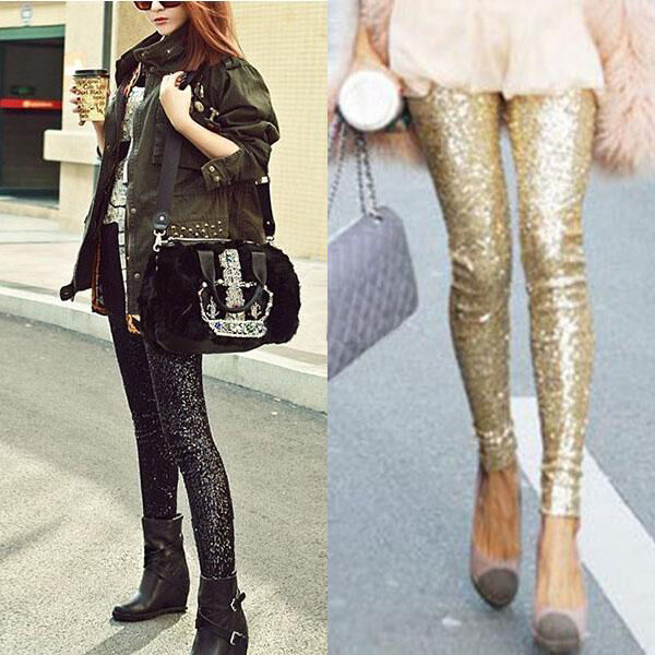 Sexy Women Clubwear Sequins Leggings Skinny Stretchy Slim Paillette Modern Pants