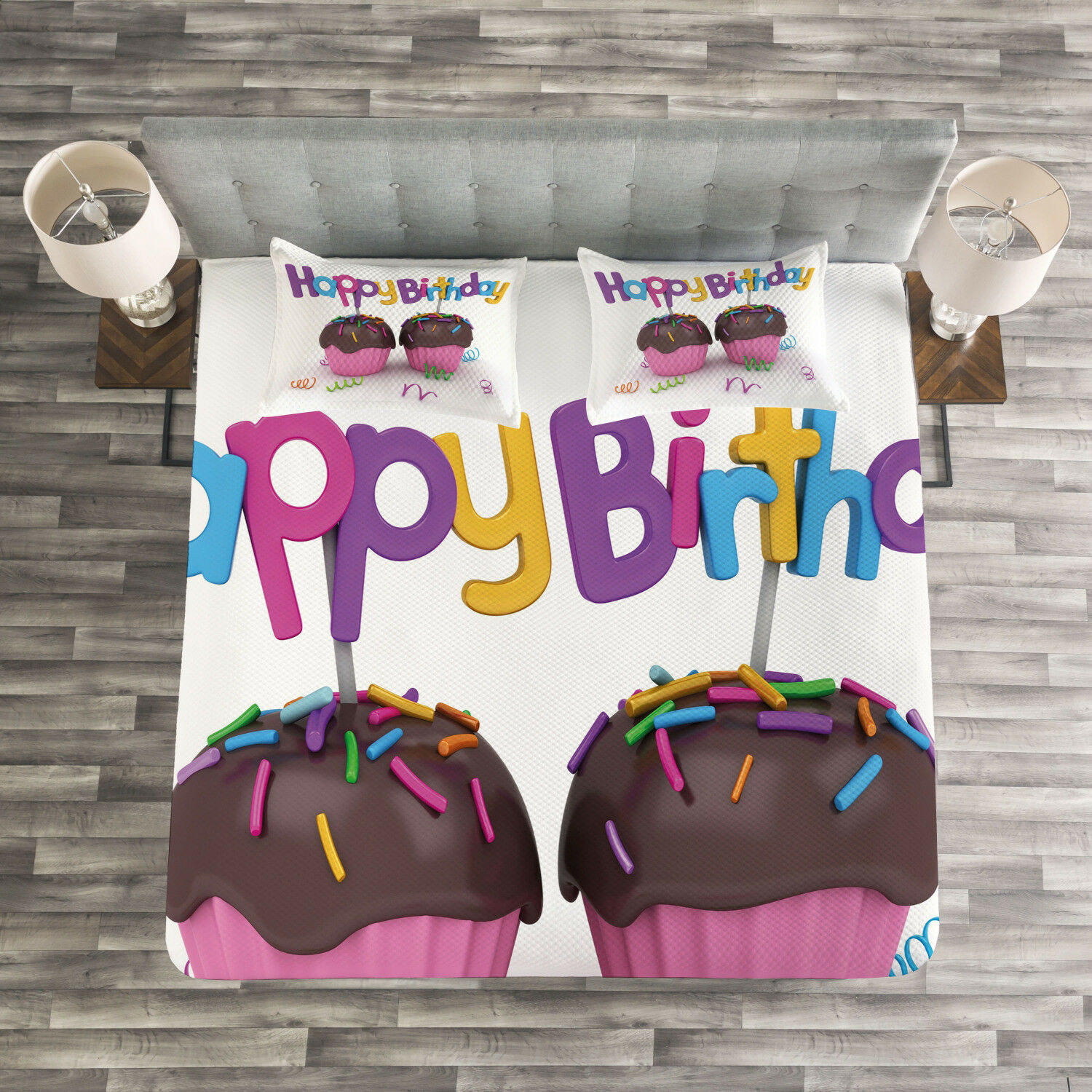 Birthday Quilted Bedspread & Pillow Shams Set, Chocolate Cupcakes Print
