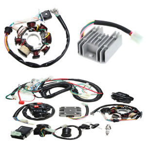 125-250CC Quad Wire Harness Electric Spark Plug Switch Coil CDI Kit Motorbike
