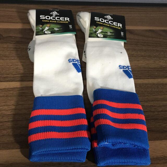 a6dd73b02 2 Pair adidas Copa Zone Cushion II Soccer Socks Size Small Blue Solar Red  for sale online | eBay