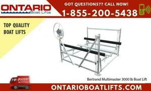 Have a peace of mind. Secure your boat with Bertrand Multimaster 3000 lb Boat Lift.  2020 Boat Showing Pricing Now On! Ontario Preview