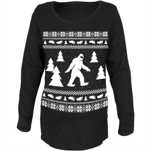 Sasquatch Ugly Christmas Sweater Black Maternity Soft Long Sleeve T-Shirt