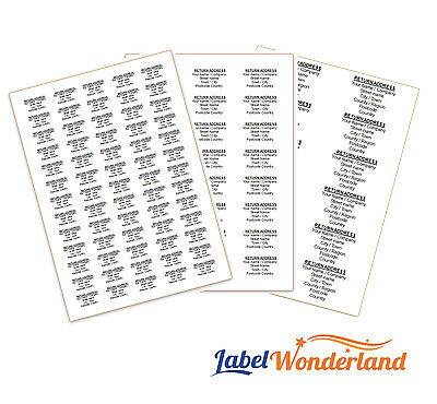 650 Personalised Labels Self Adhesive Return Address Mini Pre Printed