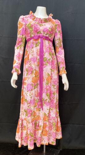 Vintage 60s Psychedelic Floral Organza Maxi Dress