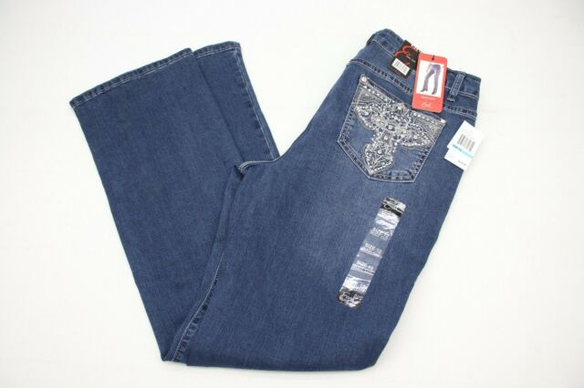 40e41b1bc9 Earl Jeans Womens Jeans Boot Cut Mid-Rise Size 12 Bling Rhinestone Stretch  New