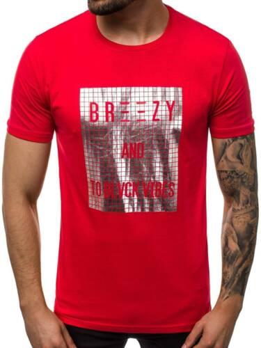 T-shirt manches courtes T-Shirt Avec Motif col rond avec inscriptions Messieurs OZONEE b//19128