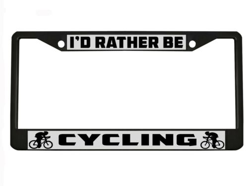 I/'d Rather be cycling  Metal Auto License Plate Frame Car Tag Holder