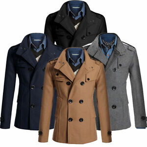 Fashion Men Winter Coat Double Breasted Peacoat Long Jacket Dress Overcoats Tops