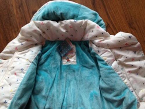 John Lewis GEO WADDED JACKET Cream Padded Detachable Hood Fleece Lined COAT NEW