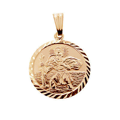 9ct Rose Gold Plated Oval St Christopher Pendant With Chain /& Engraving Option