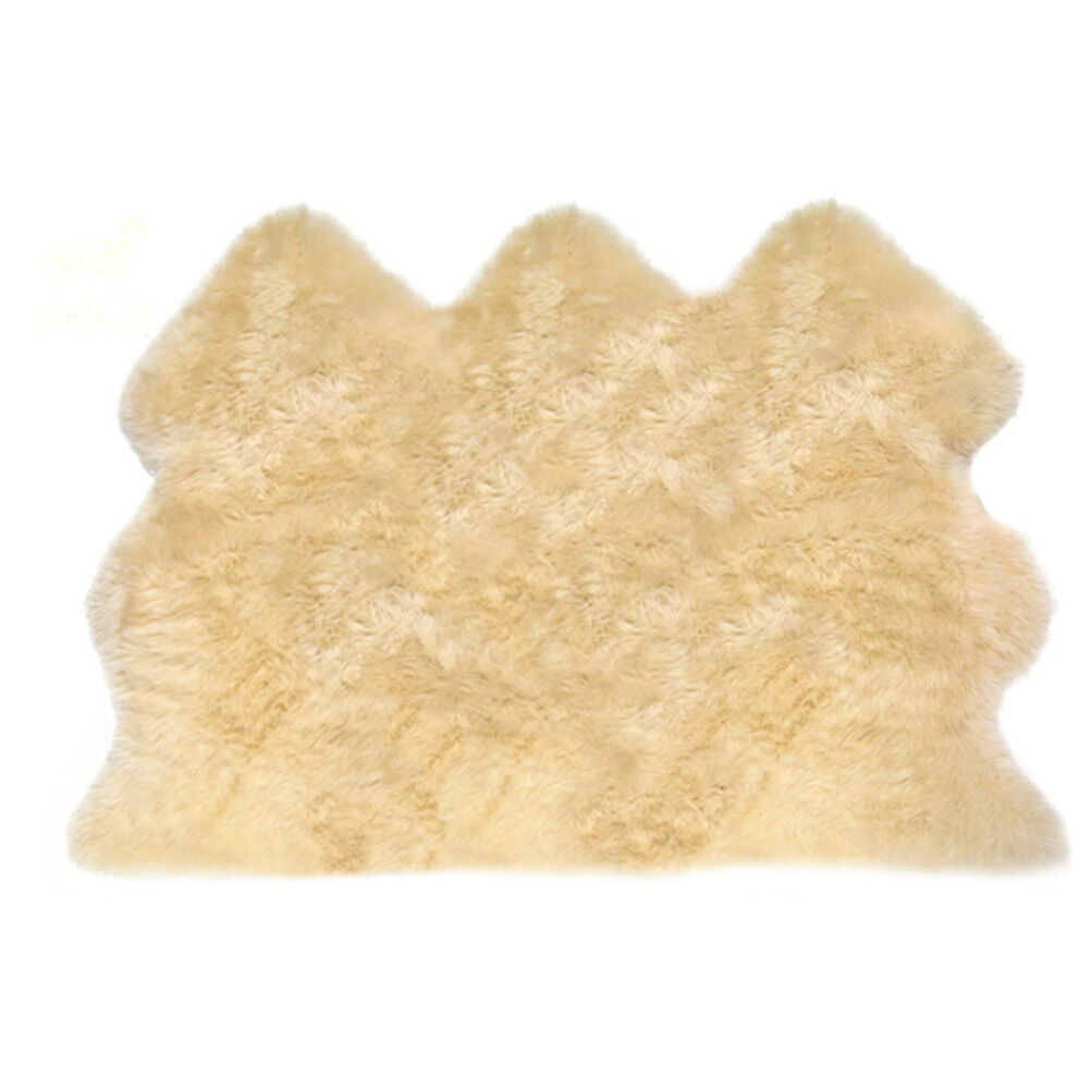 Large Soft Triple UK UK UK Made Genuine Sheepskin Rug Hide Pelt Champagne Cream Beige 881672