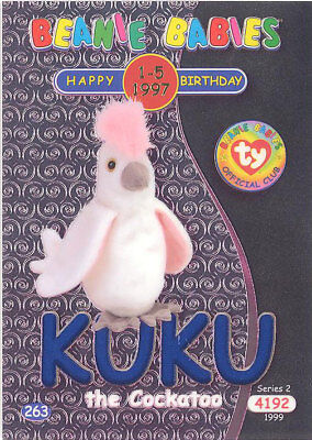 Series 1 Common NM//Mint TY Beanie Babies BBOC Card KUKU the Cocoatoo