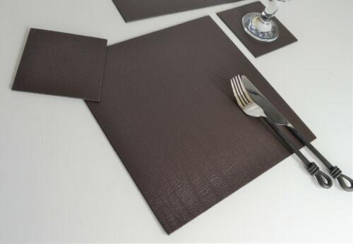Set 4 classique carré marron en cuir contrecollé sets de table et 4 sous-verres UK Made 8 pcs